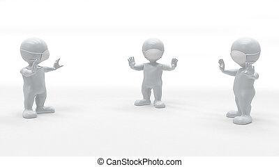 3d render of 3D Morph Man Social Distancing in surgical mask