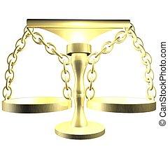 3D render of a balance - A 3D render of a golden empty...