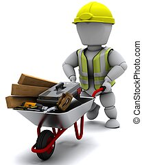 Builder with a wheel barrow carrying tools - 3D render of a...