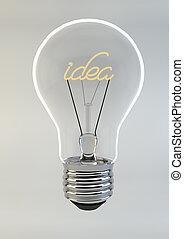 3d Render of a Bulb writing Idea inside, isolated on white background.