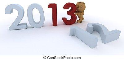 Cardboard Box figure bringing in the new year