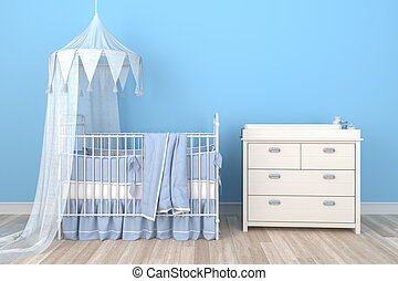 3d render of a childrens room - boy - baby