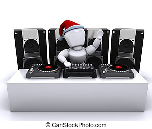 3D render of a Christmas DJ mixing records on turntables