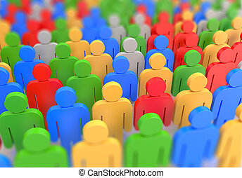 3D render of a colorful crowd