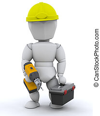 Construction Worker - 3D Render of a Construction Worker and...