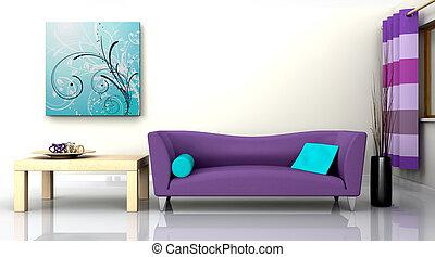 contemporary interior and sofa - 3D render of a contemporary...