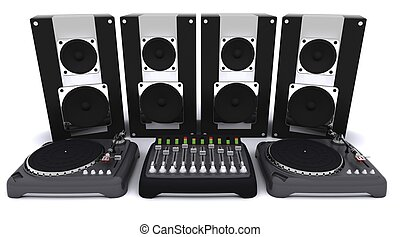 3d render of a DJ mixing desk turntables and speakers