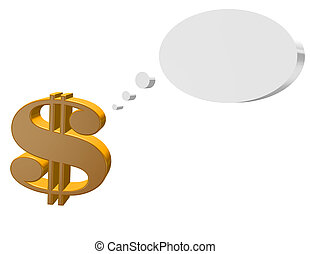3d Render of a Dollar Sign with a Speech Bubble Isolated on White