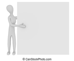 3d Render of a Female Character with a Blank Sign