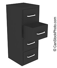 3d Render of a File Cabinet with an Open Drawer