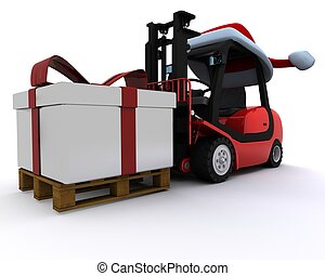 Forklift truck with christmas gift box - 3D Render of a ...