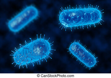 3d render of a germ bacteria under microscope