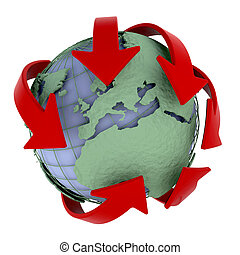 global network - 3d render of a globe depicting global ...