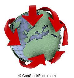 global network - 3d render of a globe depicting global ...