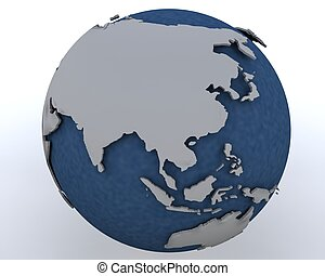 Globe showing east asia region - 3D render of a Globe...