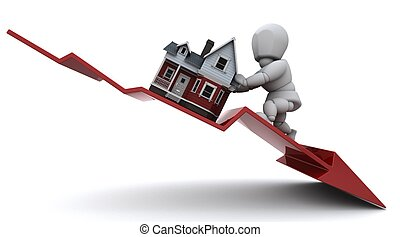 Declining Property Prices - 3D render of a Graph Depicting ...