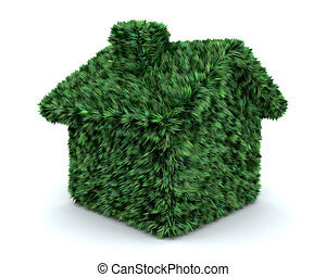 3d render of a grass house isolated on white - 3d render of...