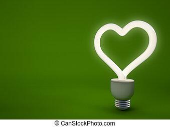 3d render of a heart shaped energy saving light bulb
