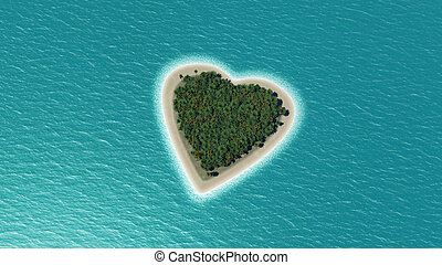3D render of a heart shaped island
