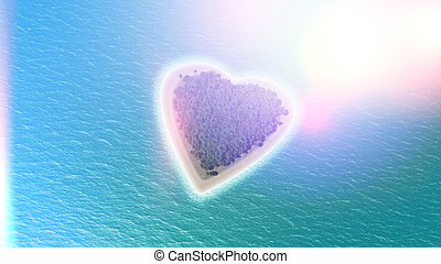 3D render of a heart shaped island with retro effect