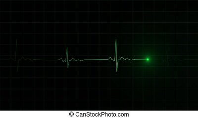 3D render of a heartbeat frequency on cardiograph recording pulse.