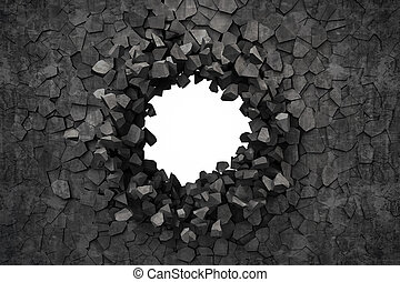 3d render of a hole on a broken wall