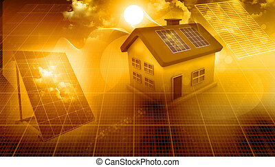 3d render of a house with solar panels