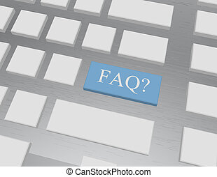 3d Render of a Keyboard Key Saying FAQ