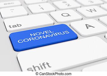 3d render of a keyboard with a blue key - novel coronavirus