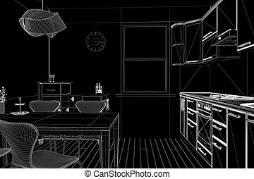 3D render of a kitchen in wireframe