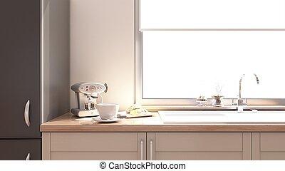Kitchen Interior - 3D render of a Kitchen Interior