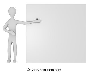 3d Render of a Male Character with a Blank Sign