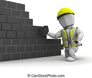 man laying blocks building a wall