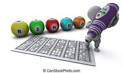 man playing bingo