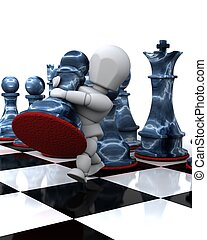 man playing chess moving a pawn