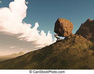 3D render of a man pushing a rock up a mountain - 3D render...