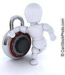 man with combination padlock