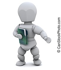 man with document folder - 3D Render of a man with document ...