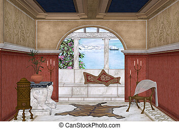 Mediterranean room - 3d render of a Mediterranean room