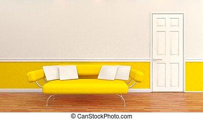 Modern architectural interior - 3D render of a Modern...