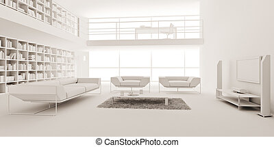 3d render of a modern interior design