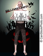 3d render of a monster holding placard