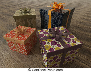 3D render of a multicolor wrapped holiday presents with ribbons on wooden surface
