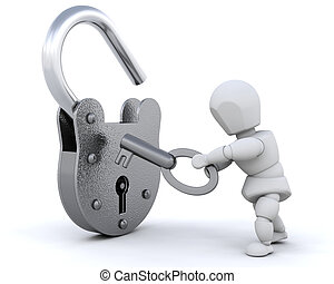 3d render of a padlock and key