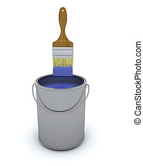 3d render of a paint brush and can