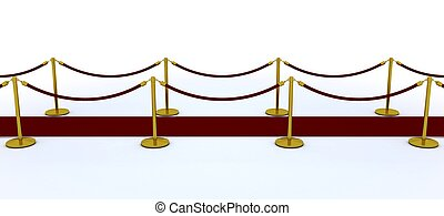 red carpet and velvet rope - 3d render of a red carpet and...