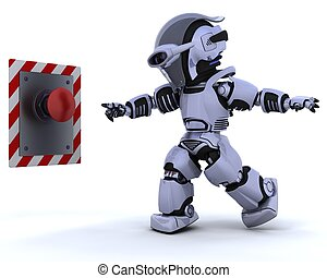 robot and push button - 3D render of a robot and push button