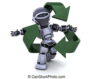 robot and recycle sign - 3D render of a robot and recycle...
