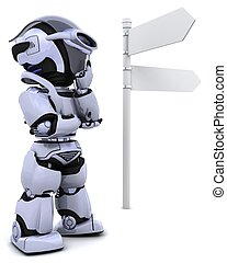 robot at a signpost - 3D render of a robot at a signpost