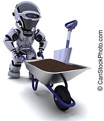 robot gardener with a wheel barrow carrying soil - 3D render...